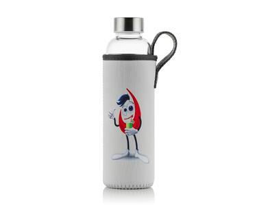 Szklana, hermetyczna butelka z pokrowcem
